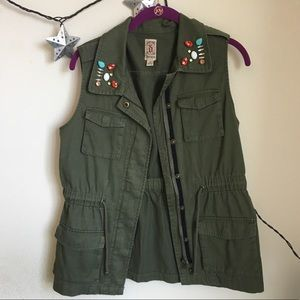 Decree Jackets & Coats - Decree Bejeweled Army Green Utility Vest